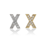 Mini Letter X Initial Stud Earrings in Silver and Gold - Alexandra Marks Jewelry