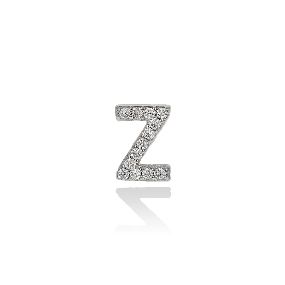 Silver Letter Z Single CZ Stud Earring from Alexandra Marks Jewelry