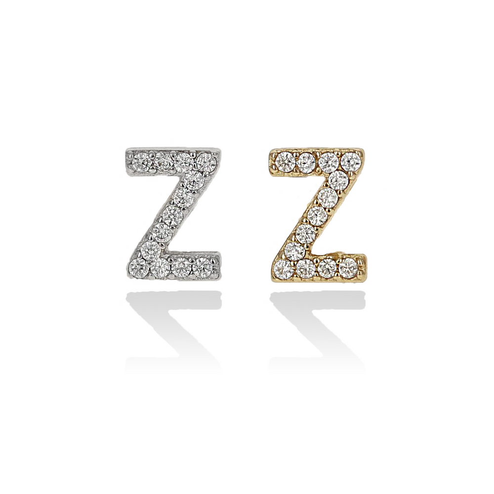 Mini Single Letter Z Initial Stud Earrings - Alexandra Marks Jewelry