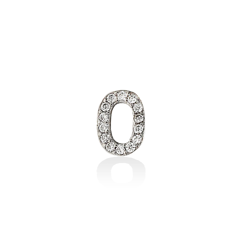 Alexandra Marks Jewelry | Single Block Letter O Initial Stud Earring in Silver