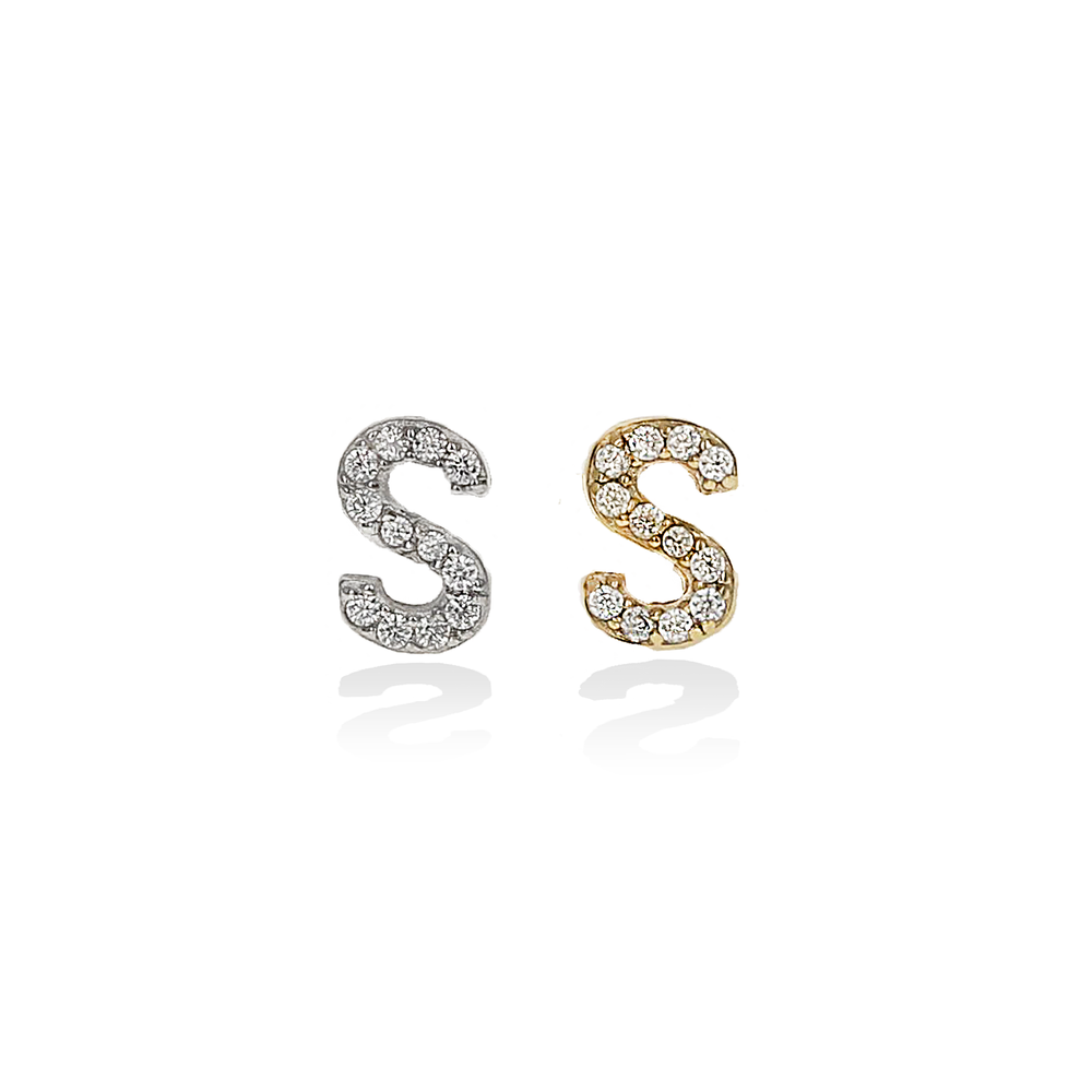 Letter S Cz Initial Stud Earrings | Alexandra Marks Jewelry