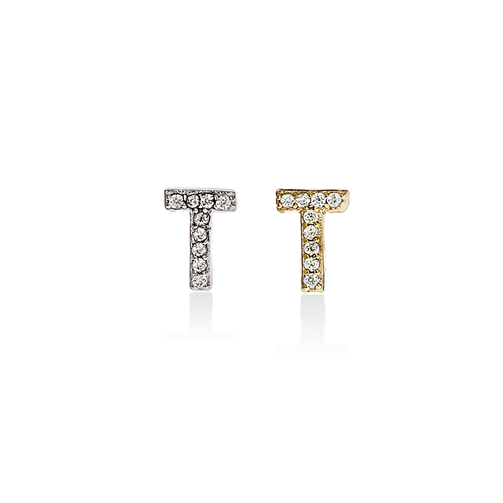 Alexandra Marks | Letter T Cz Initial Stud Earrings