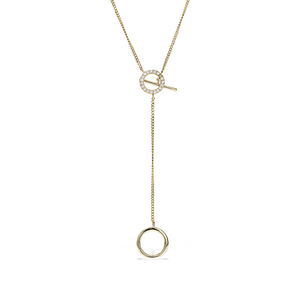 Alexandra Marks Jewelry | Open Circle Gold Y Necklace