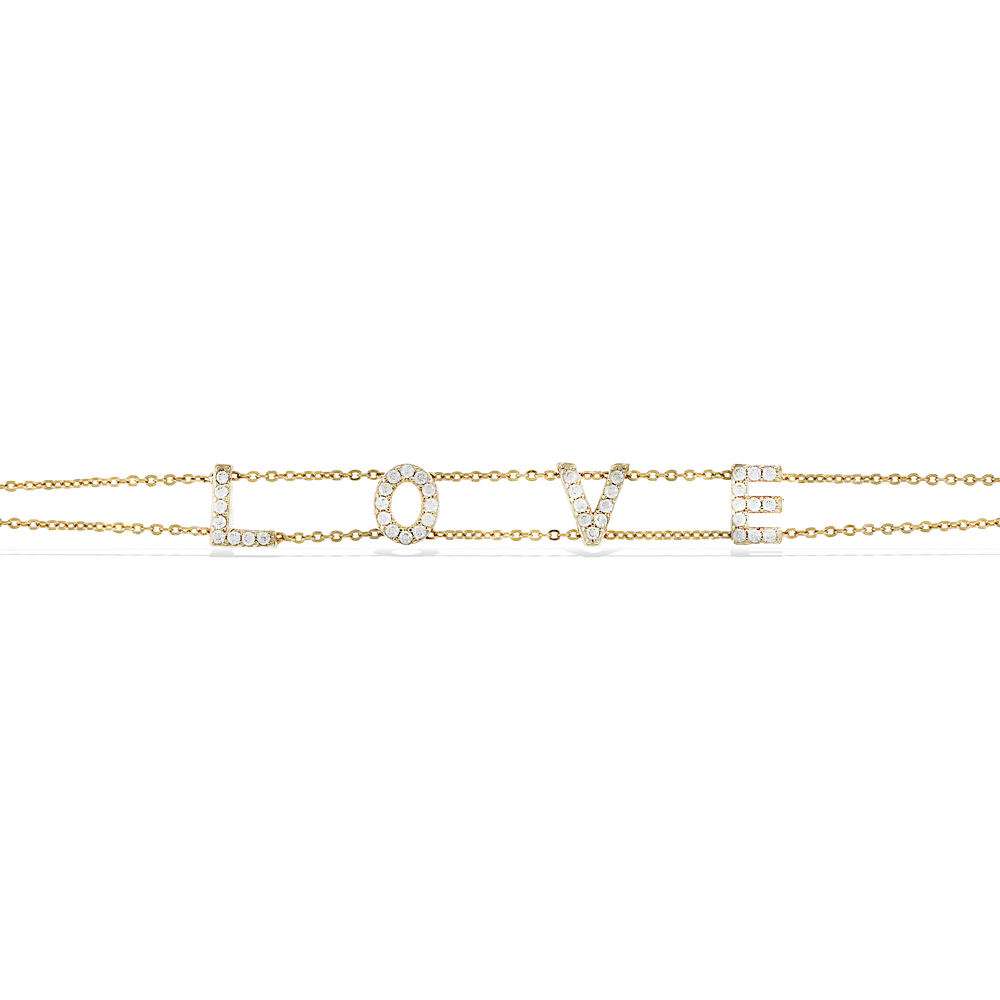 Load image into Gallery viewer, Alexandra Marks - Gold love letter cz tennis bracelet