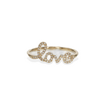 Diamond cursive love ring in 14k gold