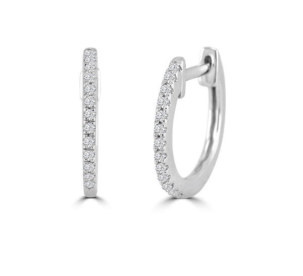 Dainty Diamond Huggie Hoops