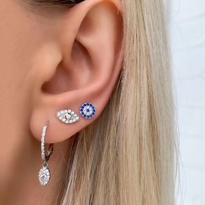 Load image into Gallery viewer, Alexandra Marks wearing the Marquise Charm Cz Drop Earrings in sterling silver