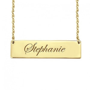 Cursive Personalized Name Bar Necklace in Gold | Alexandra marks jewelry