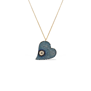 Alexandra Marks - Sideways Turquise Evil Eye Cz Heart Necklace