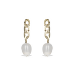 Alexandra Marks | Modern Pearl Drop Earrings With Gold Chain