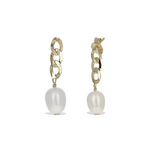 Gold Link Chain Earrings with Freshwater Pearl Drop in Gold from Alexandra Marks Jewelry