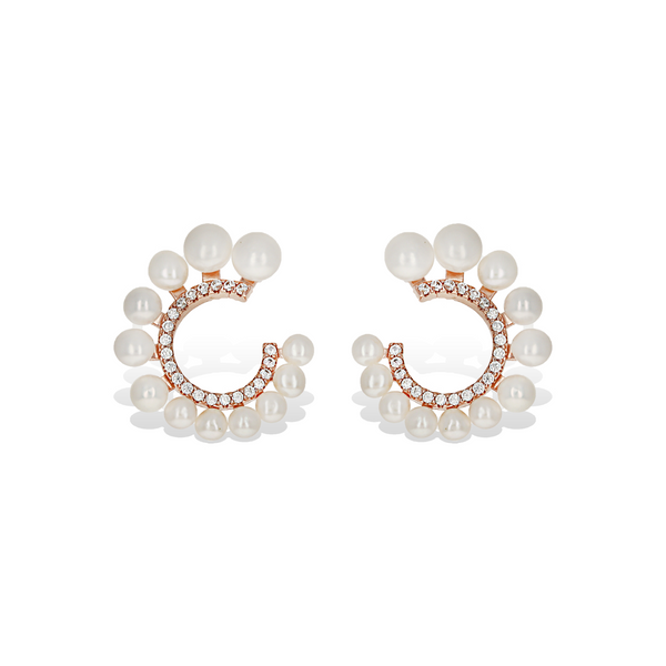 White Pearl & Rose Gold Curved Bridal Stud Earrings