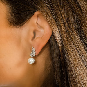 White pearl wedding statement earrings | Alexandra Marks Jewelry
