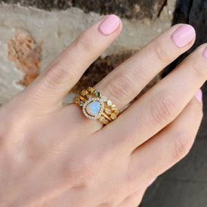 Load image into Gallery viewer, Gold free-form opal ring stacked with our some of our best selling stacking rings in gold