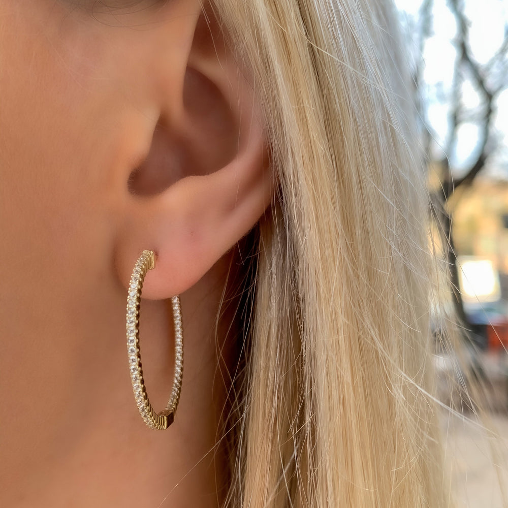 Load image into Gallery viewer, Inside-Outside Hoop Earrings
