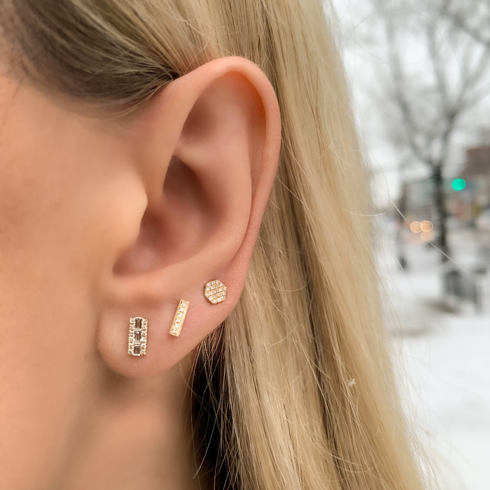 Stacking our 14kt gold and diamond bar stud earrings