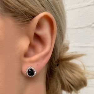 Free form black onyx studs with cz halo in sterling silver