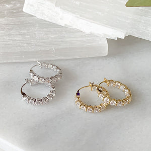 3ctw Round Brilliant Cubic Zirconia Inside-Outside Hoop Earrings in Silver & Gold
