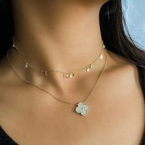 Load image into Gallery viewer, Alexandra Marks | Gold Pave' Cz Designer Clover Necklace