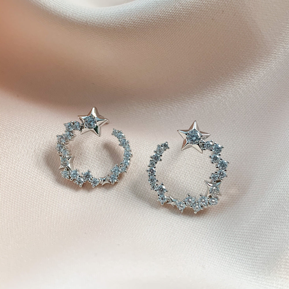 Sterling Silver & CZ Curved Shooting Star Earrings