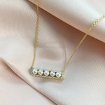 Alexandra Marks | White Round Pearl Bar Necklace in Gold