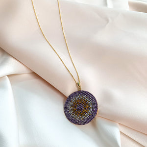 Purple CZ Evil Eye Disc Pendant Necklace in Gold Plated Silver - Alexandra Marks Jewelry