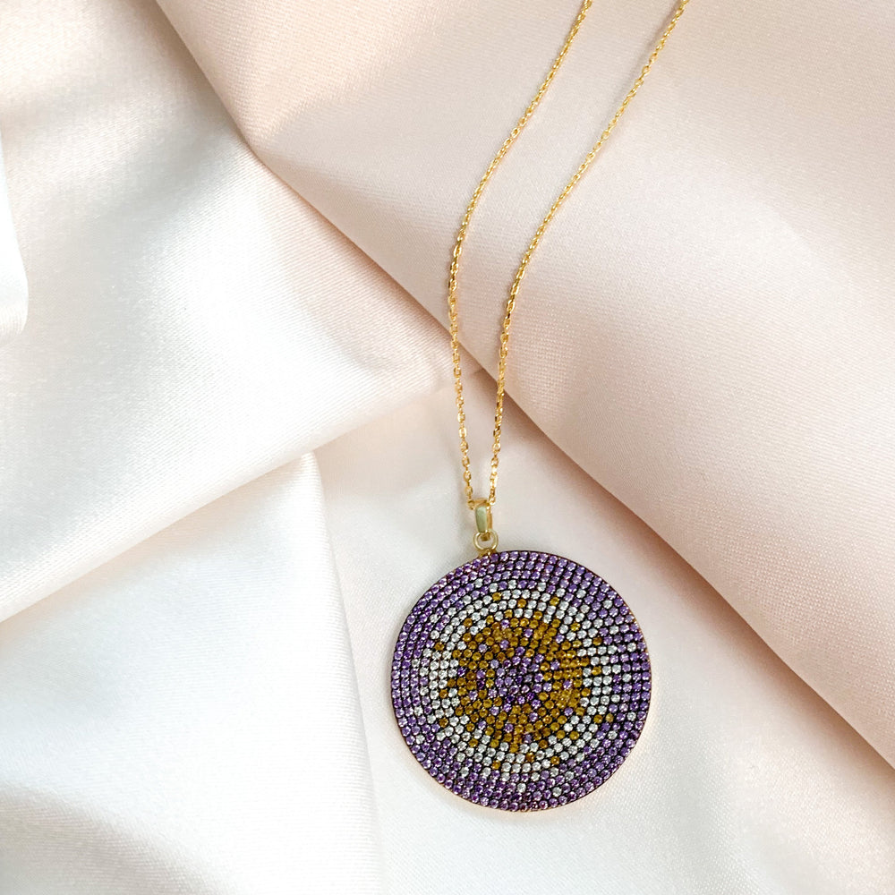 Purple Ombre Evil Eye Cz Disc Necklace in Gold