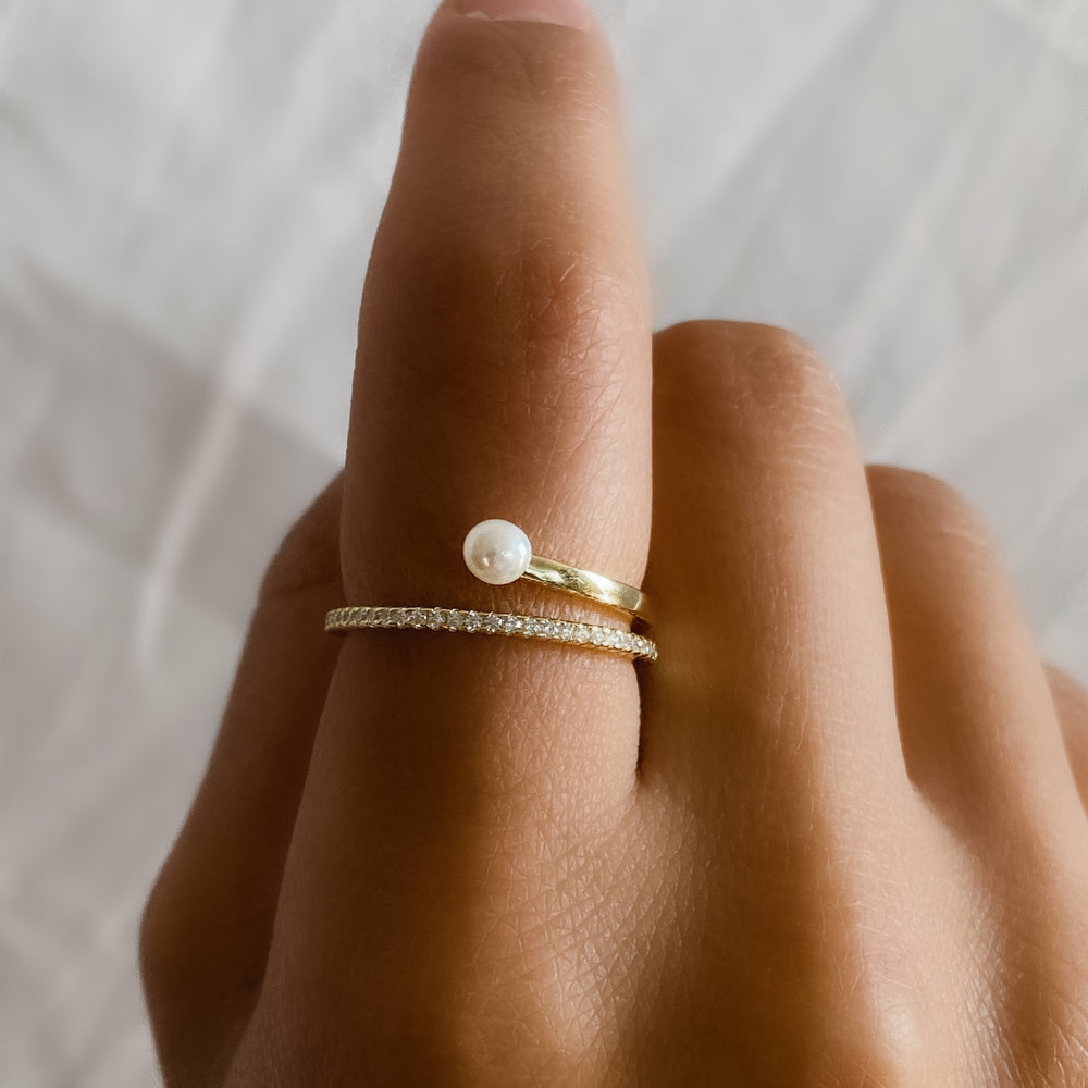 Wearing the gold pearl wrap ring from Alexandra Marks Jewelry