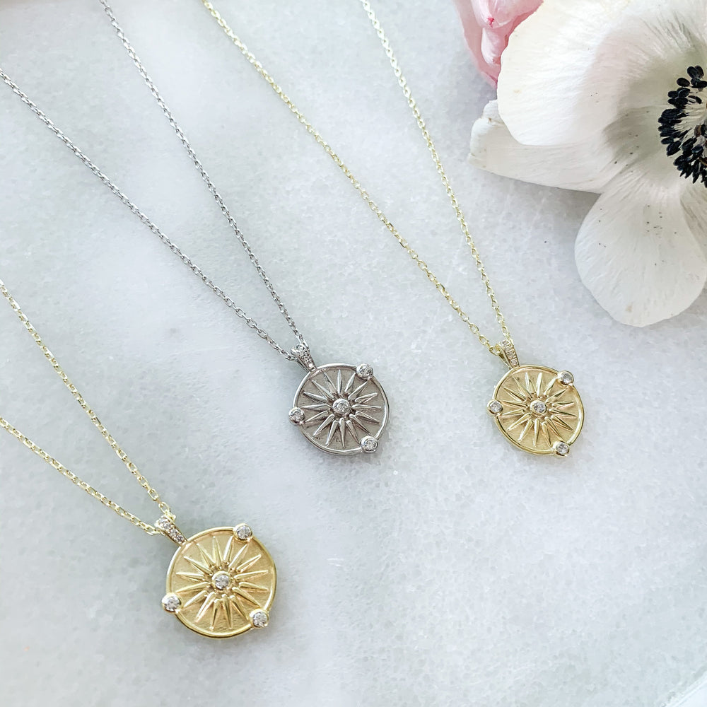 Gold and Silver Compass Charm Necklace