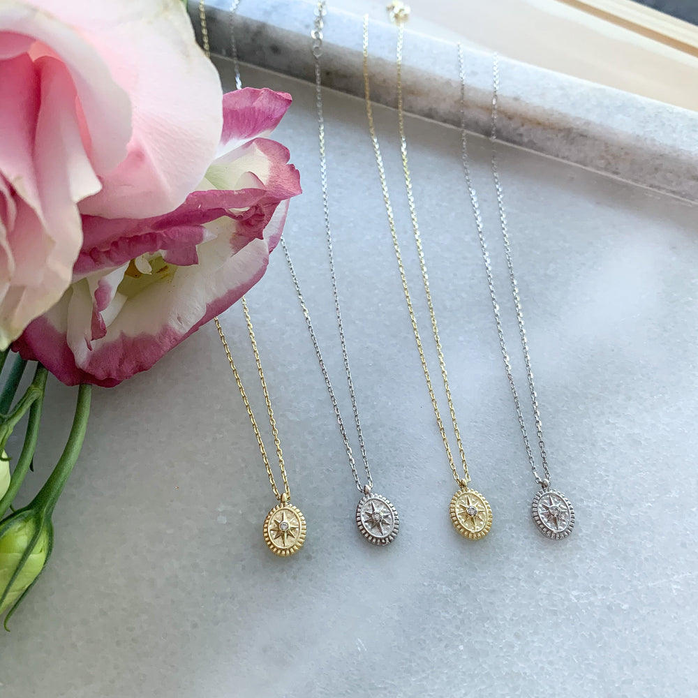 Load image into Gallery viewer, Tiny gold and silver compass charm necklaces
