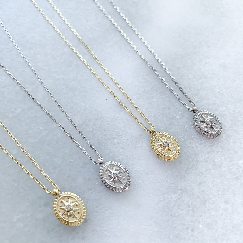 Dainty silver and gold compass charm necklaces - Alexandra Marks Jewelry