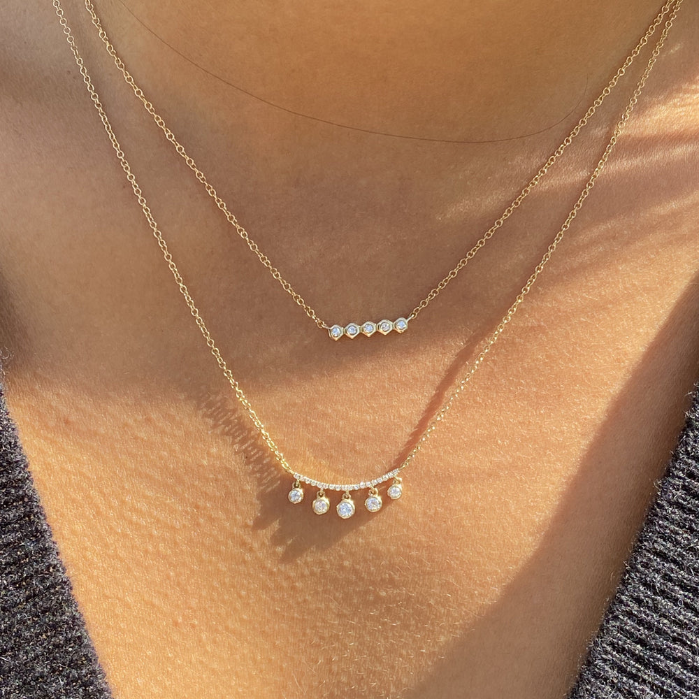 Alexandra Marks - Everyday Diamond Bar Necklaces in Gold