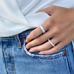 Wearing the 6mm CZ Baguette Eternity Band - Alexandra marks jewelry