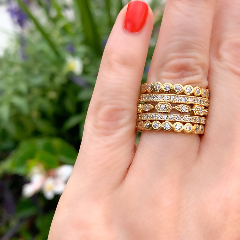 Stacking Alexandra Marks Gold and CZ Eternity Bands