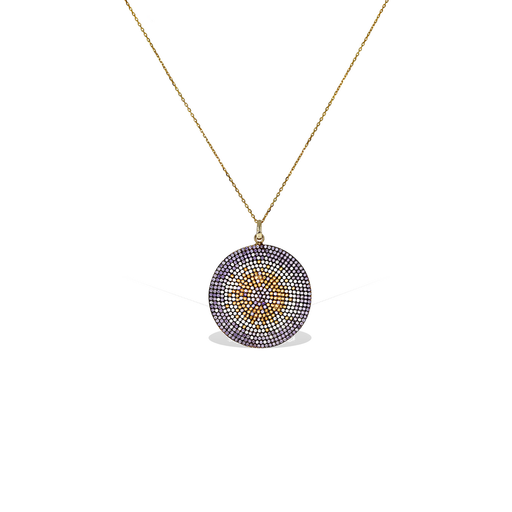 Purple Evil Eye CZ Disc Charm Necklace in Gold - Alexandra Marks Jewelry