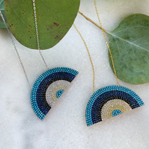 Load image into Gallery viewer, True Blue Rainbow Necklace