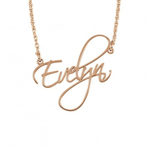 Rose Gold Personalized Calligraphy Name Necklace - Alexandra Marks