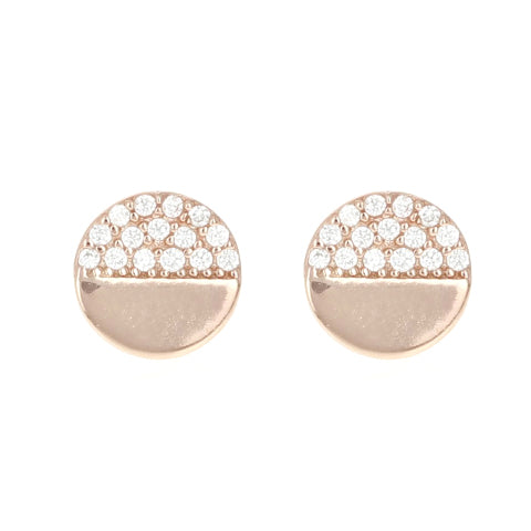 Half & Half Disc Stud Earrings