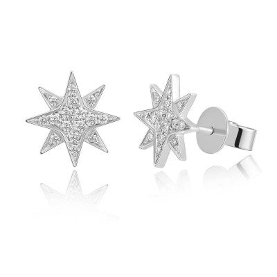 Diamond Celestial Star Stud Earrings