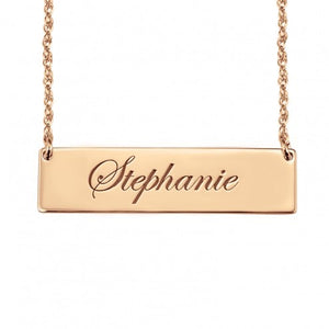 Cursive Name Bar Necklace in Rose Gold - Alexandra Marks Jewelry