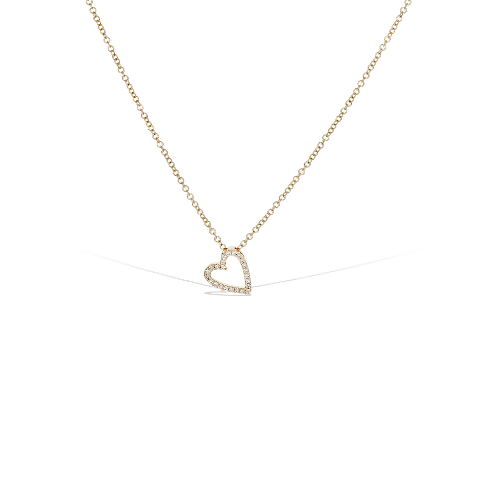 Small open heart diamond necklace in 14kt gold
