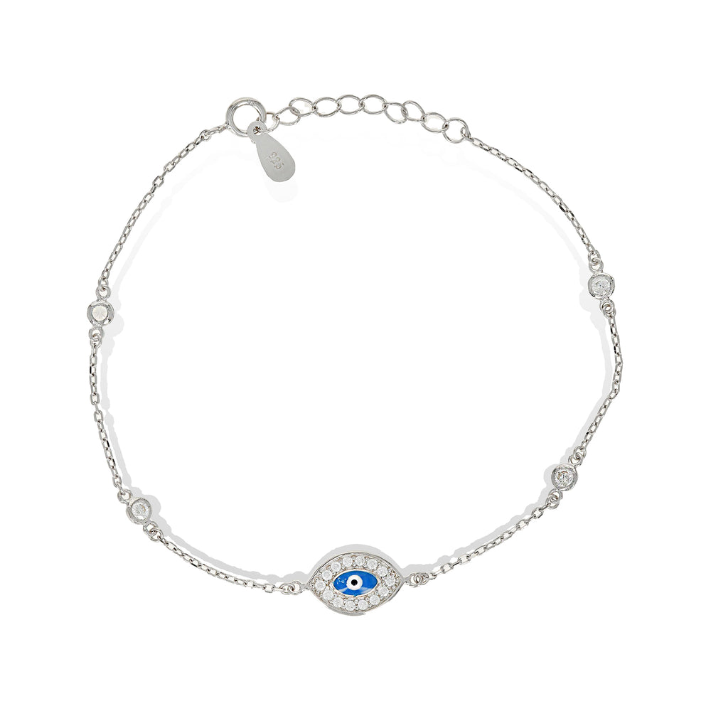 Load image into Gallery viewer, Silver evil eye cz bracelet