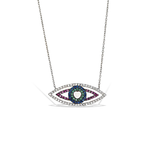 Alexandra Marks Jewelry | Colorful Evil Eye Cz Necklace in Silver