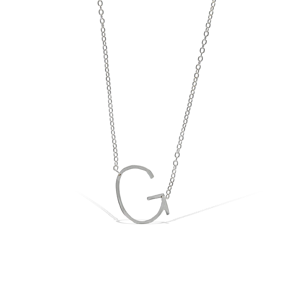 Alexandra Marks | Sideways Letter G Initial Necklace in Silver