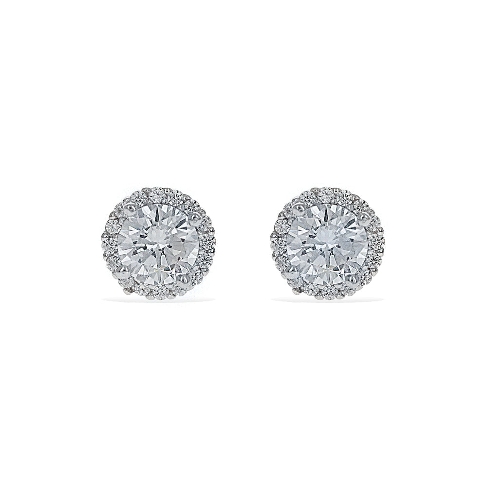 CZ Round Halo Stud Earrings in Sterling Silver | Alexandra Marks Jewelry
