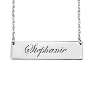 Personalized Bar Necklace, Sterling silver or 14kt White Gold - Alexandra Marks Jewelry