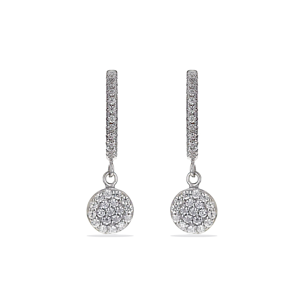 Load image into Gallery viewer, Small cz circle charm huggie hoop earrings in sterling silver