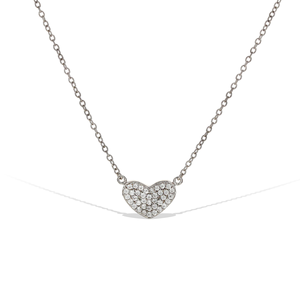 Alexandra Marks | Small Cubic Zirconia Sterling Silver Heart Necklace