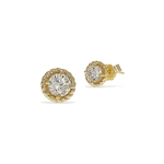 Alexandra Marks | Cz Twisted Rope Halo Stud Earrings in Gold