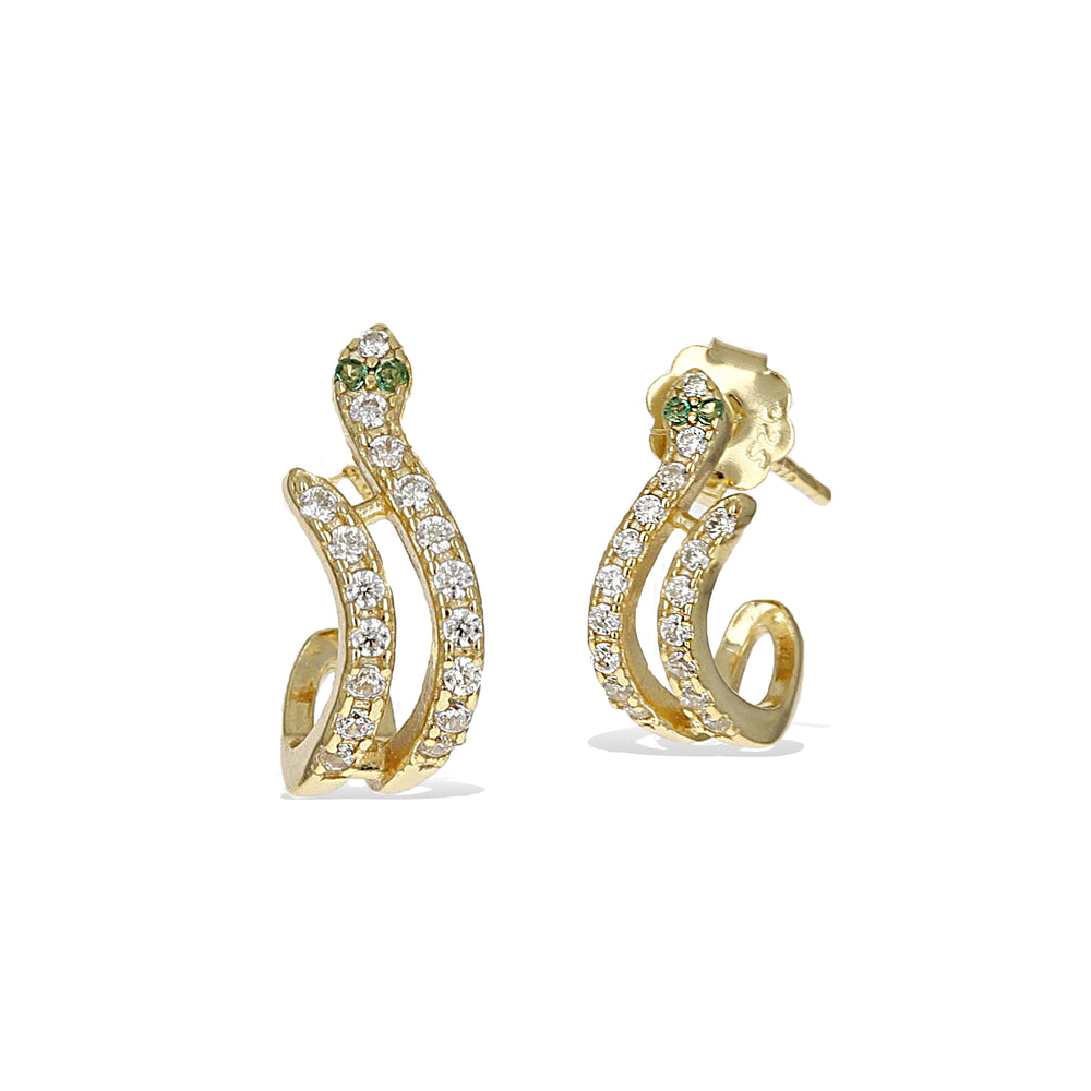 Alexandra Marks - Gold Snake Huggie Hoop Earrings